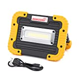10W COB LED Work FloodLights 750 Lumens Outdoor Camping Fishing Spotlights Searchlight Built-in Rechargeable Lithium Batteries Light Lamp With USB Ports to charge Mobile Devices and Special SOS Mode