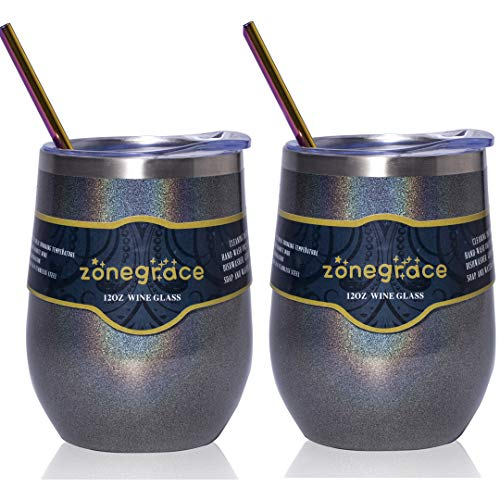 (Zonegrace 2 Pack 12oz Insulated Wine Tumbler with Lid Glitter Charcoal, Double Wall Stainless Steel Stemless Insulated Wine Glass, Coffee Mug, for Champaign, Cocktail, Beer, Office)
