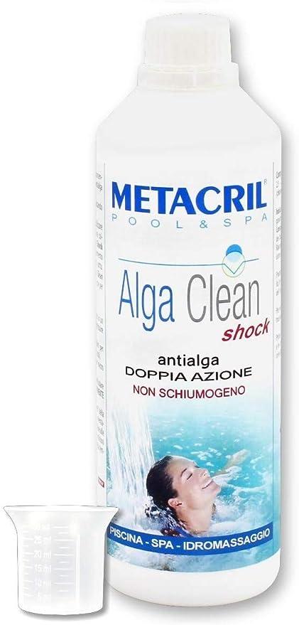 Metacril Alga Clean Shock 500 ml Doble Acción + Dosificador. Antialgas para hidromasaje, piscina y spa, rígidas o hinchables (Jacuzzi,Teuco, Dimhora,Intex,Bestway,etc).