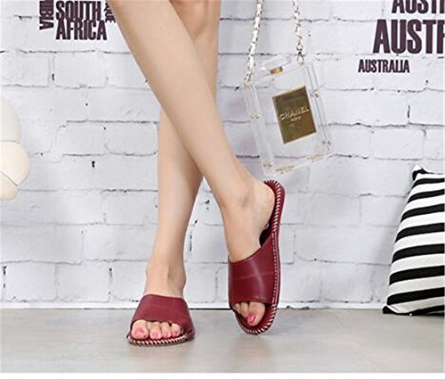 PU Mute Leather Women and Rose Summer W Men Floor Autumn TELLW for Spring Slippers Wooden tw4aqUT