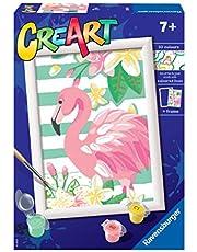 Ravensburger 28929 5 CreArt Serie E - flamingo, schilderen op nummer, creatief spel voor meisjes en kinderen, aanbevolen leeftijd 7 jaar