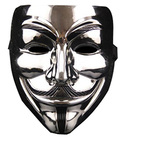 Halloween Thickening PVC Vendetta Mask With Elastic (Free one pair white glove) (Silver) ()