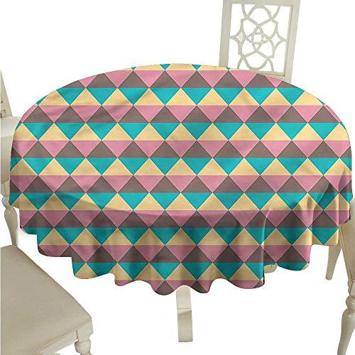 (ScottDecor Dinning Tabletop Decoration Geometrical,Vintage Hexagonal Tassel Tablecloth Round Tablecloth D 54
