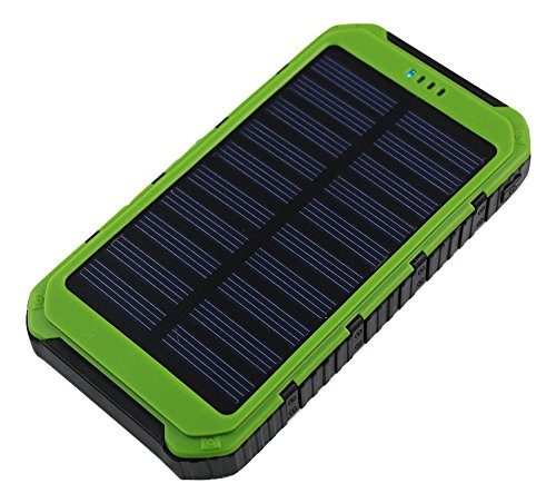 Solar External Battery Portable Atex Powerbank 12000mAh DUAL USB output Rain-Resistant Shockproof Mobile Solar Charger Power Bank LED Light for iPhone iPod Samsung GPS Camera GoPro Green