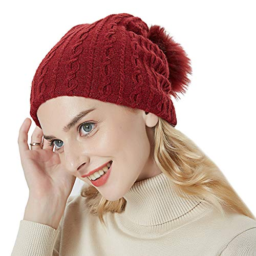 OMECHY Womens Winter Knitting Beanie Hat Wool Slouchy Baggy Hats Ski Skull Cap Stretchy Scarf DarkRed (Hat Ski Knitting)