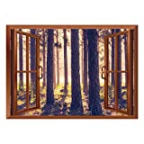 SCOCICI Wall Mural, Window Frame Mural/Forest,Weak Afternoon Sunbeams Autumn Forest with Leaves