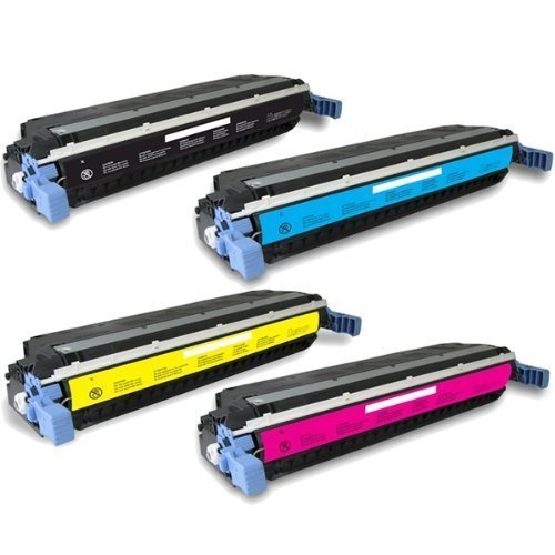 A Plus Compatible Toner Cartridge Replacement for HP C9730A, C9731A, C9732A, C9733A ( Black,Cyan,Magenta,Yellow , 4-Pack) for HP Colour Laserjet 5500 Series