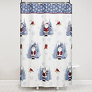 Saturday Knight Sterling Santa Shower Curtain And Hook Set In Blue The Red White Is Decked Out A Fun Print With Crisp