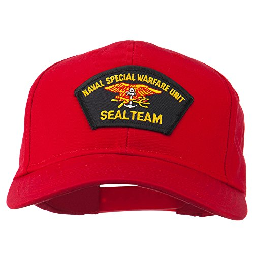 Naval Warfare Seal Team Military Patched Cotton Twill Cap - Red OSFM