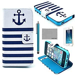 LIMME COCO FUN? Navy Blue Anchor Pattern PU Leather Full Body Case with Film, Stand and Stylus for iPhone 5/5S