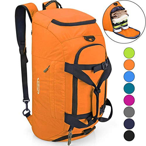 G4Free 3-Way Travel Duffel Backpack Luggage Gym Sports Bag with Shoe Compartment (Orange)