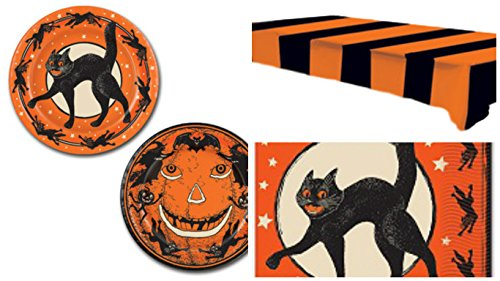 Vintage Halloween Party Supply Kit  - Includes Plates, Napkins and a Tablecover for 16 (Vintage Halloween Party)