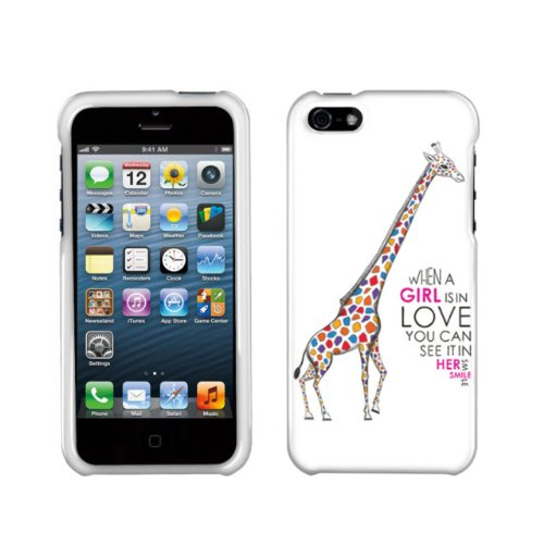 Hard Plastic Snap On Cover Fits Apple iPhone 5/5S/SE Female Giraffe In Love