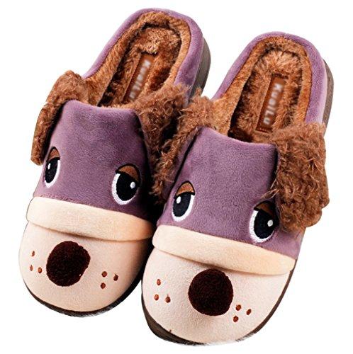 Blubi Hombres Cute Animal Slippers Zapatillas De Casa Funny Zapatillas Purple