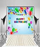 Leyiyi Baby Girl Birthday Party Photography Backdrop 5X7ft Vinyl HD Celebrate Birthday Thin Balloon Wooden Board Banners Photo Backgrounds Infant Newborn Child Portrait Shoot Studio Props Video Drape