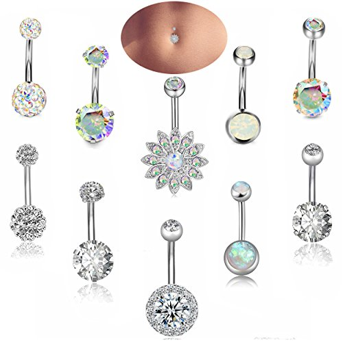 Besteel 14G Stainless Steel Belly Button Rings for Women Girls Navel Rings CZ Body Piercing S