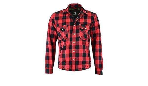 Black Tab Camisa de motocicleta negra con lengüeta roja totalmente reforzada con forro de Kevlar y armadura CE: Amazon.es: Coche y moto