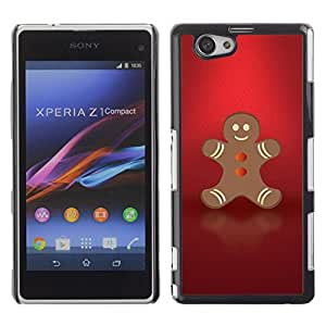 YOYO Slim PC / Aluminium Case Cover Armor Shell Portection //Christmas Holiday Red Gingerbread Man 1083 //Sony Xperia Z1 Compact