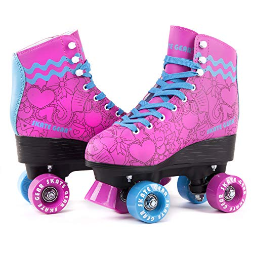 Cal 7 All-Purpose Indoor Outdoor Speedy Roller Skate for Youth and Adults (Pink with Blue Laces, Youth 5 / Women's ()