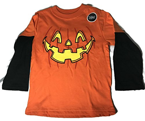 Boys Long Sleeve Halloween Creepy Funny Tshirts (3T, Orange (Glow In The Dark Toddler Halloween Costume)