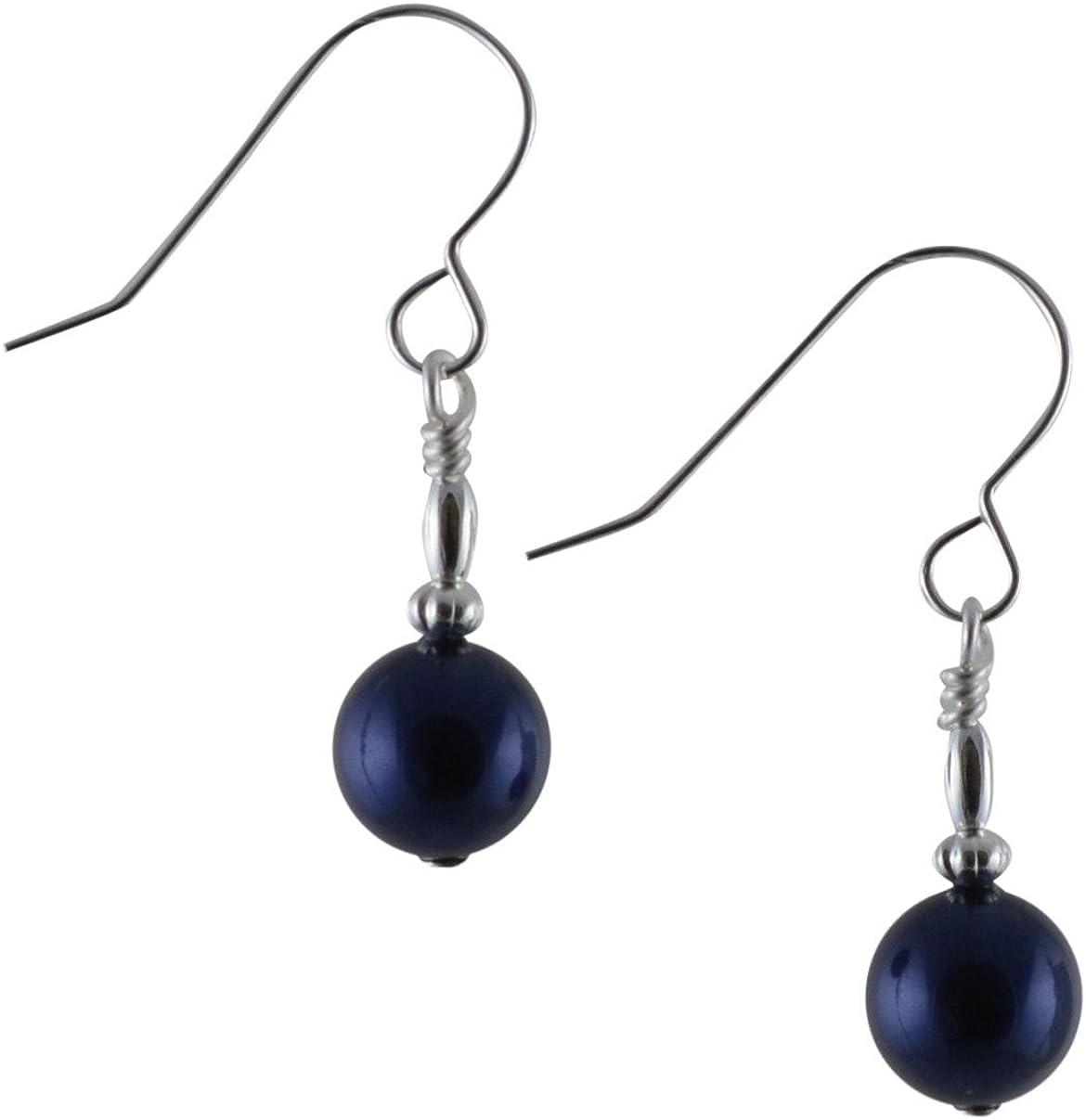 Pendientes de plata de ley con perlas de cristal Swarovski, color azul oscuro y con caja de regalo