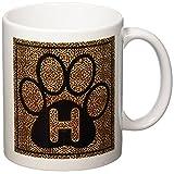3dRose Letter H Standard Cheetah Print Cat Paw Ceramic Mug, 11-Ounce
