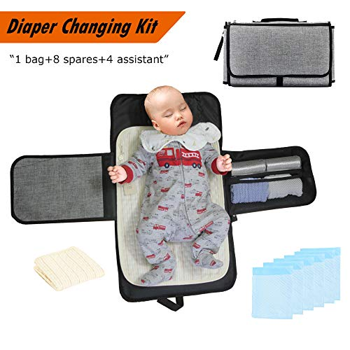 Baby Portable Diaper Changing Kit-Foldable Diaper Clutch Bag+Disposable Pee Pads+Washable Pad Liners+Muslin Face Cloths+Diaper Trash Bags,by Touroam