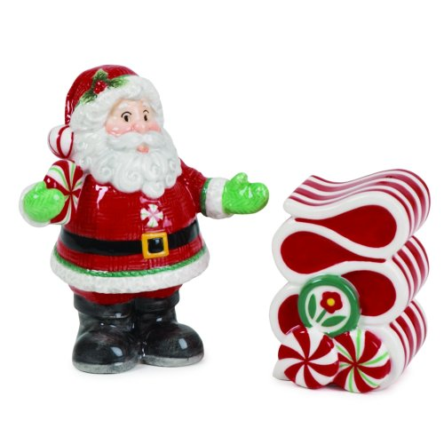 Fitz and Floyd Peppermint Santa Salt & Pepper