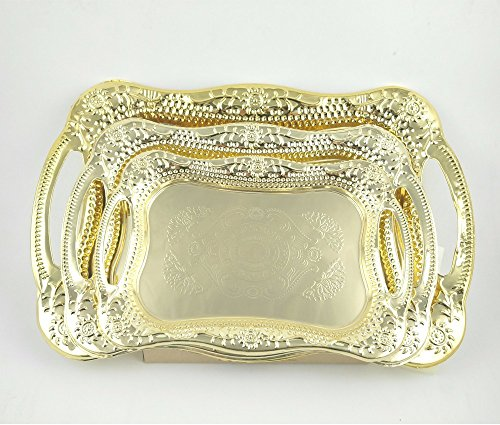 Eaglood 30X20CM/36X25CM Stainstainless Steel Golden Dish Plate/Metal Serving Tray Delicate Ss Plate/Tableware Metal Plate/Fruit Plate golden 43x29 by Eaglood