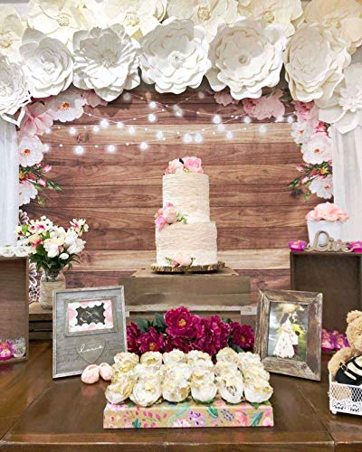 Funnytree 7X5ft Soft Fabric Flowers Wood Lace Rustic Backdrop Durable No Wrinkle Wedding Floral Photography Background Wooden Board Floor Bridal Shower Baby Birthday Party Banner Photo Studio Props by Funnytree (Image #3)