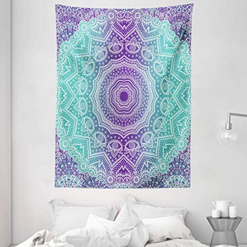 Ambesonne Purple and Turquoise Tapestry, Hippie Ombre Mandala Inner Peace and Meditation with Ornamental Art, Wall Hanging for Bedroom Living Room Dorm, 60 X 80 , Purple Aqua