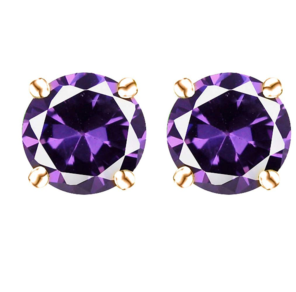 14k Gold Butterfly Backings /& Rose Gold Overlay Sterling Silver Basket Settings Round Cubic Zirconia Simulated Amethyst Stud Earrings 2.00ctw