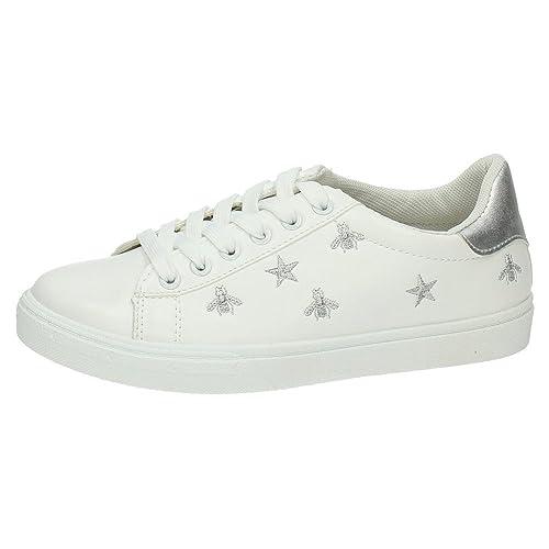 DEMAX 7-J105A-12 Zapatillas Blancas Mujer Deportivos Blanco-Plata 40