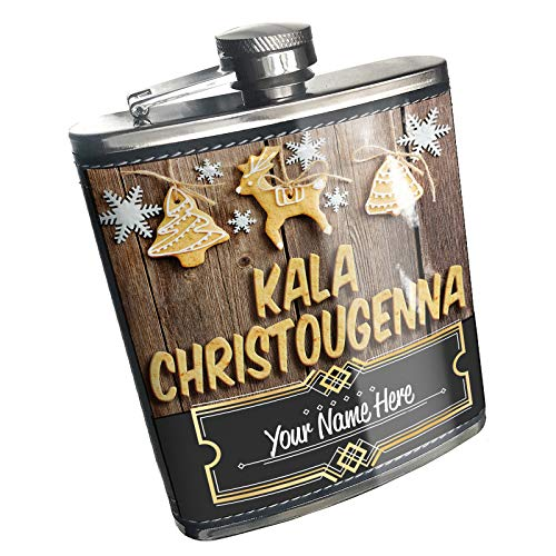 Neonblond Flask Merry Christmas in Greek from Greece. Cyprus Custom Name Stainless Steel