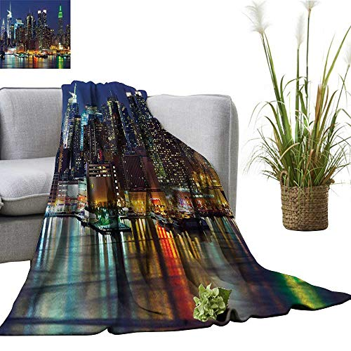 (YOYI Travel Blanket NYC Midtown Skyl e Even Amaz Metropolis City Stat Royal Blu Easy to Carry Blanket)