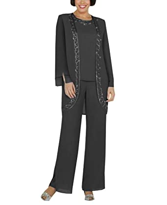 2f2c13b7504 Fitty Lell Women s Chiffon Mother of The Bride Pant Suits with Jacket Three  Pieces for Wedding