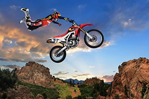 Freestyle Motocross Rider Performing Stunt on Motorcycle Photo Art Print Poster 36x24 inch
