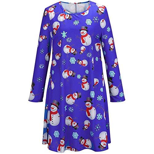 - kaifongfu Women Christmas Dress O-Neck Casual Printed Bodycon Dress(Blue,M)
