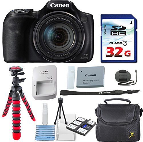 Canon PowerShot SX540 HS + 32GB High Speed Memory Card + Case + Tripod - Bundle