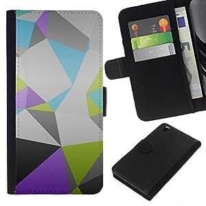 JackGot ( Patrón Polígono ) HTC DESIRE 816 la tarjeta de Crédito Slots PU Funda de cuero Monedero caso cubierta de piel