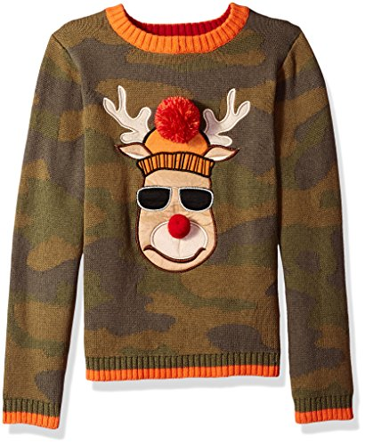 Big Boys' Reindeer Camo Xmas Sweater