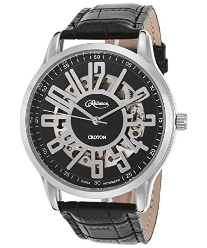 Croton Re306072wsdw Men's Reliance Automatic Black Genuine Leather White Dial - Mens Croton White Dial