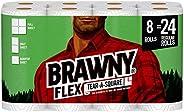 Brawny Flex Paper Towels, 8 Triple Rolls = 24 Regular Rolls, Tear-A-Square, 3 Sheet Size Options, Quarter Size