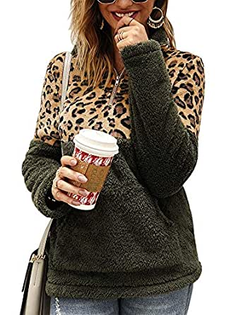 Ramoug Women's Leopard Contrast Color Half Zipper Hoodless Sweatshirt Outerwear Coat S Army Green