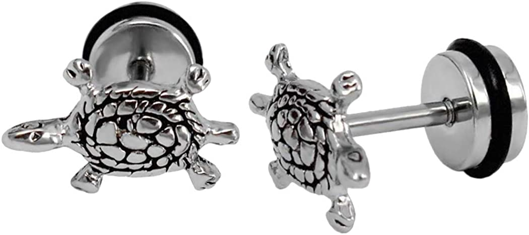 Ineffable Stainless Steel Sea Turtle Earrings Studs Women Tiny Ear Studs Black/Silver/Gold Color