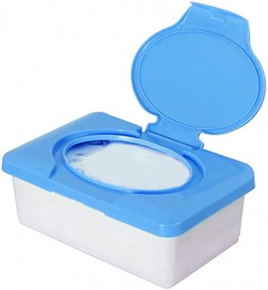 con tapa de hebilla pl/ástico Sundatebe Caja de almacenamiento de pa/ñuelos mojados de pl/ástico azul talla /única