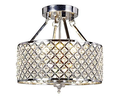 Diamond Life 4-Light Silver Round Metal Shade Crystal Chandelier Semi-Flush Mount Ceiling Fixture