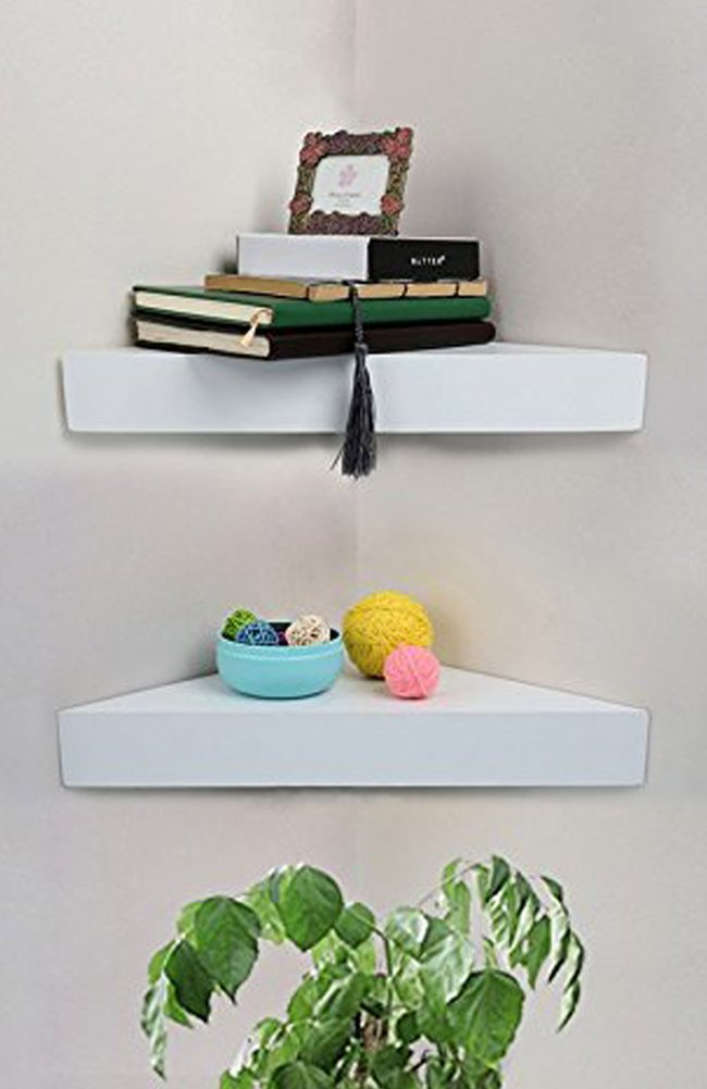 SHELVING SOLUTION Corner Wall Shelf, Set of 2 (Modern White)