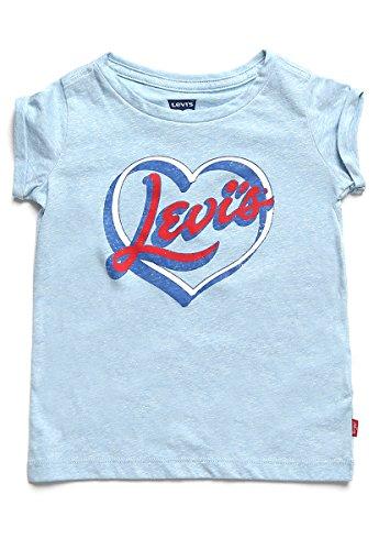 Levi's - Playera para niña, Dusk Blue Snow Yarn/Red, Small
