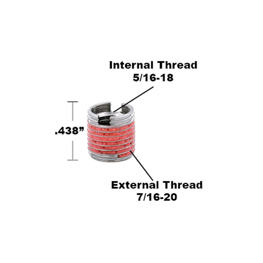 303 Stainless Pack of 5 Thin Wall 5//16-18 x 7//16-20 E-Z LOK Threaded Insert for Metal